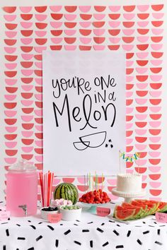 Love this watermelon themed party - comes with free printable!