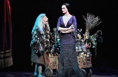 Jackie Hoffman as Grandma and Brooke Shields as Morticia Addams in The Addams Family.