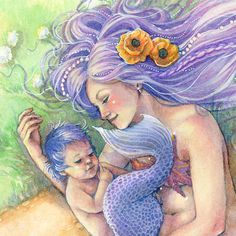 Purple Mermaid with Baby Mermaid Art Print by sarambutcher on Etsy, $16.00