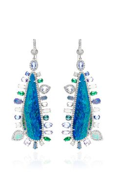 Opal And Multi-Stone Accent Earrings with Pave Diamonds in 18K White Gold