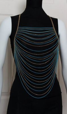 Draping Chains Body Armor. Multi layered. Approx. 25 inch drop from shoulder. Includes extender. Turquoise and Gold. Gold plated. Nickel and Le
