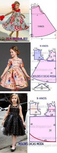 Sewing Patterns Girls, Girl Dress Patterns, Clothing Patterns, Doll Clothes Patterns, Girls Blue Dress, Little Girl Dresses, Girls Dresses, Flower Girl Dresses, Kids Fashion Wear