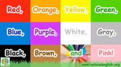 The Colors Song ~ fun learning for children ~ by Natural English .org I chose this song because the children will learn a lot of colours in English and will also learn a lot of words, like cars and birds. Color Games For Toddlers, Color Song For Kids, Color Songs, Kindergarten Songs, Preschool Songs, Kids Songs, English Fun, English Lessons, Learn English