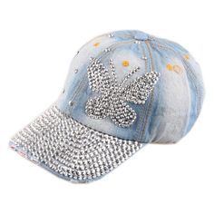 f5da88348eb 2015 Crystal Butterfly Denim Baseball cap Sports Hat Rhinestone Snapback  Caps For Women hip hop Hats