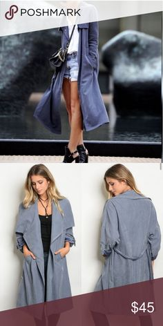 Lightweight Trench Coat Fabric: 100 polyester   Made in China   Actual coat shown in stock photos.  Soft and flowing fabric.True to size.  Visit us in the wholesale portal too!! We are a poshmark brand. Threadzwear Jackets & Coats Trench Coats