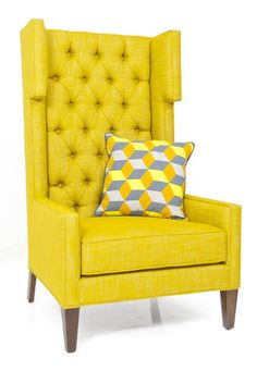 Tangier Wing Chair in Old Gold Linen | ModShop