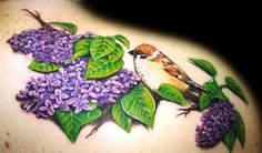 Thinking about lilacs for my left shoulder, only one nesting of flowers and a lot smaller with papa's wings instead of the bird