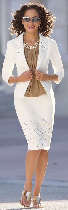 @roressclothes clothing ideas #women fashion white pencil skirt: