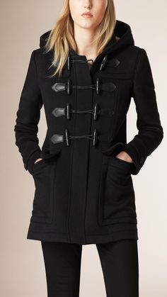 Fitted Wool Duffle Coat Black | Burberry