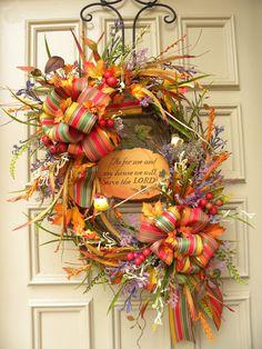 Fall Autumn Door Wreath Floral Arrangement on Etsy, $125.00