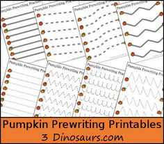 Free Pumpkin Prewriting Printables - 3 different types: dotted line, solid line, & thick line dotted - 3DInosaurs.com