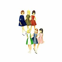 1960s Girls Princess Seam Full Skirt Dress Butterick 3022 Vintage Sewing Pattern