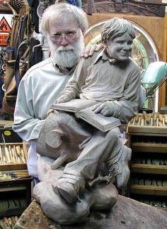 Fred Cogelow and young boy carving...