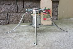 Vintage Space age chrome Christmas tree holder with original box, like new by…