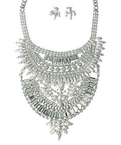 $14.99 Crystal & Silvertone Multi-Layer Statement Necklace & Earrings #zulily #zulilyfinds