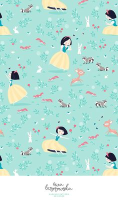 Snow White - who doesn't love this fairytale? Textile surface pattern design for little girls.