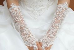 Lace Tulle Long Wedding Gloves With Rhinestone by Lacefeather, $40.00