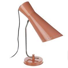 LAMPE 50'S AJOURÉE ROSE POUDRÉ - 48X37X15 CM