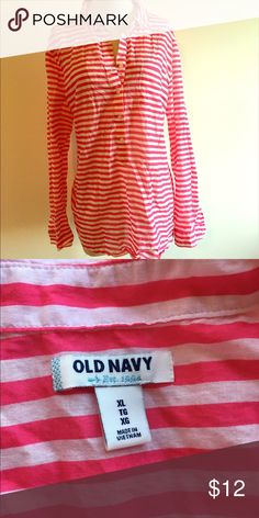 ⭐️Lightweight Pink and White Old Navy Blouse ⭐️ ⭐️Lightweight Pink and White Old Navy Blouse ⭐️ Size XL. Pink and White. Long Sleeves. Old Navy Brand. Very light weight. Next day shipping. Great condition. All sales are final. Old Navy Tops Blouses