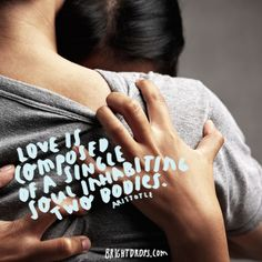 """""""Love is composed of a single soul inhabiting two bodies."""" ~ Aristotle"""