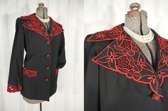 1950s Blazer// 50s Jacket// Novelty Blazer// Black Red Cut Work Lace Blazer// XL Large by RockabillyRavenVtg on Etsy