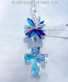 m/w Swarovski Crystal Aurora Borealis Large Cross with RARE AB Purple Octagon Star SunCatcher Lilli Heart Designs