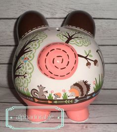 LARGE Coral Woodland animals Artisan hand painted by Alphadorable