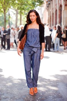 This is the perfect example. Take baggy jeans, and a denim blouse, stitch em together. BOOM! Trendy jumpsiut