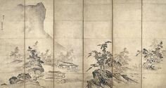 山水図屏風<br/>Landscape after Xia Gui Zen Painting, Japanese Painting, Chinese Painting, Japanese Art, Asian Wallpaper, Picture Ornaments, Deco Paint, Chinese Artwork, Art Deco Posters