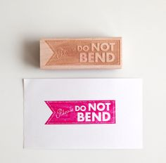 Do Not Bend Rubber Stamp (Wood Mounted), Modern Typographic Original Design A. $20.95, via Etsy.
