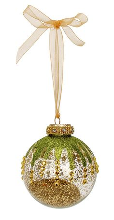 Nicole™ Crafts Green And Gold Christmas Ornament  #ornaments #craft #christmas