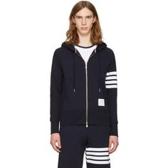 Thom Browne Navy Classic Four Bar Hoodie (1,020 NZD) ❤ liked on Polyvore featuring men's fashion, men's clothing, men's hoodies, navy, mens hoodies, mens zipper hoodies, mens short sleeve hoodies, mens zip up hoodies and mens sweatshirts and hoodies