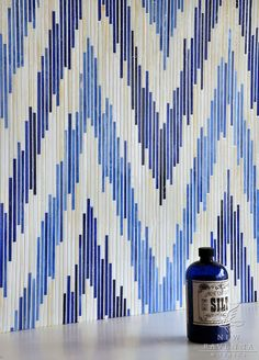 Pamir, a jewel glass mosaic shown in Quartz, Iolite and Lapis Lazuli, is part of the Ikat Collection | New Ravenna Mosaics.