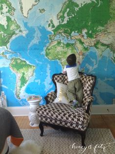 Navy world map easy up mural wall sticker outlet 75 decor 13 x 9 world map for under 75 there just isn gumiabroncs Gallery