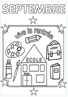 Septembre                                                       … … First Day Of School Activities, School Fun, Preschool Activities, Welcome To Kindergarten, Kindergarten First Day, Back To School Art Activity, French Worksheets, Responsive Classroom, French Classroom