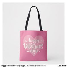 Happy Valentine's Day Typography   Tote Bag Edge Design, Personalized Products, Happy Valentines Day, Typography, Reusable Tote Bags, Elegant, Simple, Top, Shopping