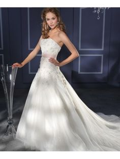 Taffeta Strapless Fitted Bodice Wedding Dress