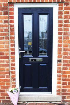 A Modern Composite door; A door style Altmore, and Zinc Prairie glass design and chrome fixtures! #compositedoor #altmore #zincprairie #bluedoor #frontdoor #entrance #letterbox #chrome #homeimprovements