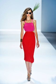 Mara Hoffman Spring 2013 Ready-to-Wear Collection. Tropical passion. Hot pink and deep coral red.
