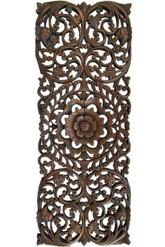 "Floral Tropical Carved Wood Wall Panel. Asian Wall Art Home Decor. Large Wood Wall Plaque. Dark Brown Finish 35.5""x13.5 Extra Thick"