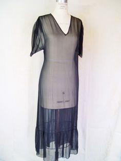 Vintage 1980s Givenchy Designer Chiffon Dress, 1920s Style