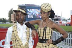 A dose of tartan. Goodman Ngcobo and Zinhle Mgaga don Bright Shadow creations. Tartan, Trendy Fashion, Captain Hat, Racing, Bright, Couples, Hats, Running, Hat