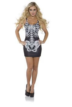 Wear this Adult Bones Tank Dress on Halloween night, and you'll be the best looking body there is, no bones about it! This slim and sexy costume dress is decorated with a skeleton's spine, rib, and hi