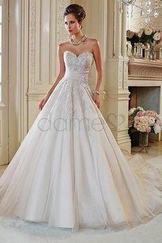 wedding dresses/Tüll Spitze Herz-Ausschnitt Schnürrücken Satin A-Linie aufgeblähtes Brautkleider