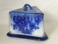 Flow Blue Covered Butter or Cheese Dish Floral with finger handle