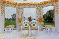 open white mandap with orange and white flowers, wedding arch Wedding Mandap, Wedding Ceremony Flowers, Wedding Arches, Indian Wedding Decorations, Ceremony Decorations, Indian Weddings, Alter Decor, Mandap Design, Indoor Wedding