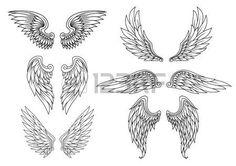 Heraldische Flügel für Tätowierung oder Maskottchen Design gesetzt photo