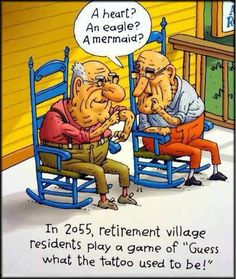 """In 2055, retirement village residents play a game of guess what the tattoo used to be!"""""""