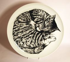 Hand illustrated sleeping cat plate £45.00