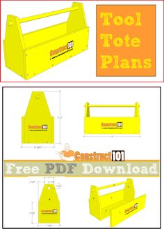 Tool tote plans, free PDF download, material list, and step-by-step illustrated details.